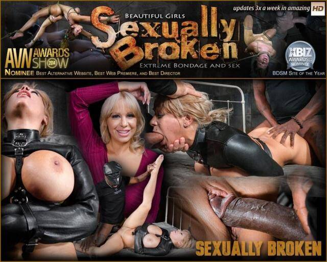 SexuallyBroken.com/RealTimeBondage.com - Big breasted Alyssa Lynn takes on two cocks while bound in a leather straightjacket! [SD, 360p]