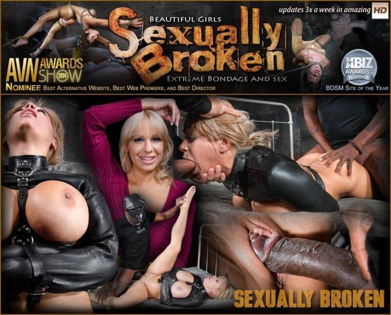 SexuallyBroken.com/RealTimeBondage.com: Big breasted Alyssa Lynn takes on two cocks while bound in a leather straightjacket! [SD] (134 MB)