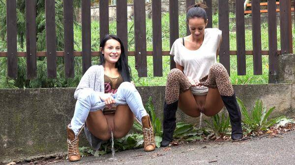 Two for one - Two girl pissing on the street! (G2P) [FullHD, 1080p]