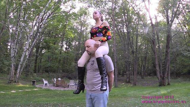 Teen Domina with her Slave in Garden! [HD, 720p] - Bratprincess.us/Clips4Sale.com