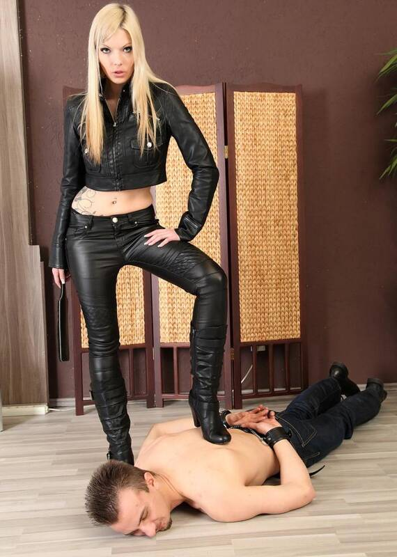 HotSpankingGirls.com - Denise - Strict leather girl Denise shows him how its done!  [HD 720p]