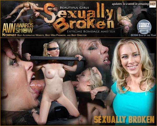 SexuallyBroken.com: Eager Jeanie Marie blindfolded, bound on sybian and facefucked into messy destruction! (01.01.2016/HD)