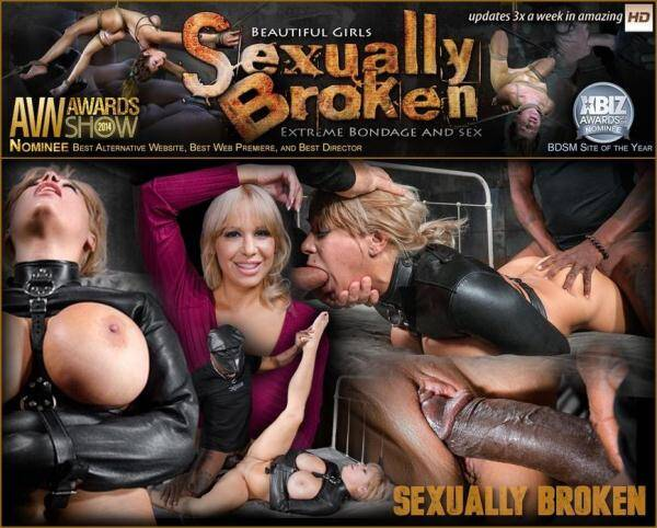 SexuallyBroken.com/RealTimeBondage.com: Big breasted Alyssa Lynn takes on two cocks while bound in a leather straightjacket! (28.01.2016/SD)