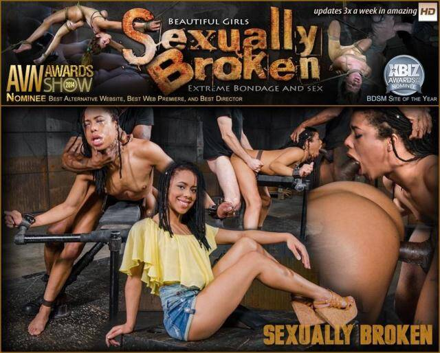 SexuallyBroken.com - Kira Noir, Maestro, Jack Hammer - Adorable Kira Noir shackled down in belt bondage and taken roughly from both ends by big dick! [SD, 540p]
