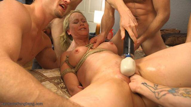 HardcoreGangBang.com - Creaming Pie: Mrs. Simone Sonay gets her MILF holes banged by her son's friends! - 39560 [SD, 360p]