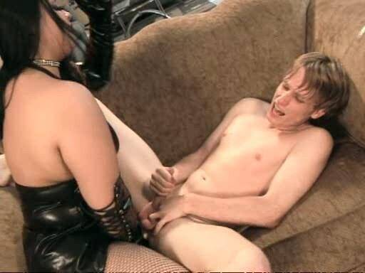 Amateur Femdom - Hot sexy mistress fucks in the ass of a helpless skinny guy [SD, 384p]