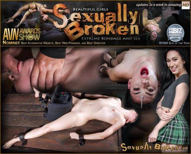 SexuallyBroken.com - Sexy beauty Aria Alexander shackled to sybian and throat trained by two hard cocks! [SD, 540p]