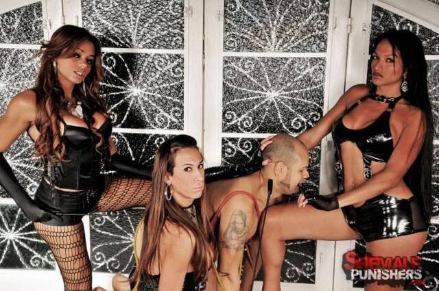 ShemalePunishers.com/TrannyPack.com - Michelly Cinturinha, Sabrina Camargo, Veronica Haven - Hard group fucking with boy! [HD, 720p]