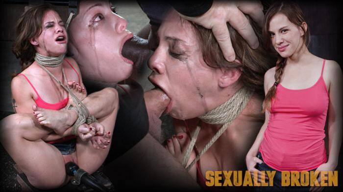 SexuallyBroken.com - 5 foot high girl next door Devilynne tightly tied in strict bondage with epic drooling deepthroat! (BDSM) [HD, 720p]