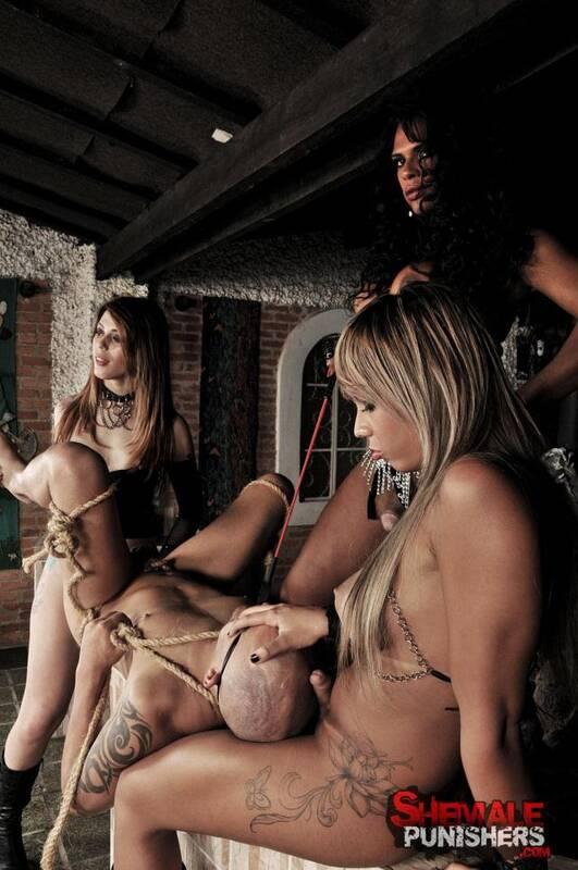 ShemalePunishers.com/TrannyPack.com - Alessandra Molinari, Carla Cardille, Vanessa Rafaella - Hard fuck with bondage! [HD, 720p]
