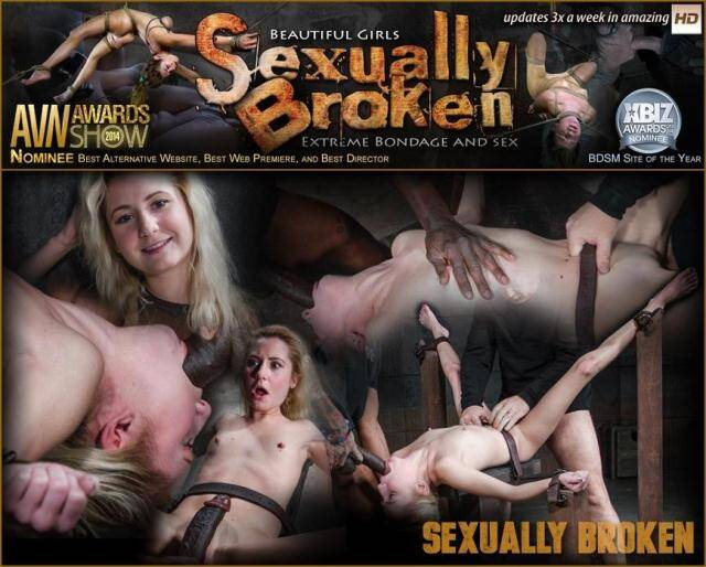 SexuallyBroken.com/RealTimeBondage.com - Pale 5 foot pixie Odette Delacroix belt bound down and roughly fucked by giant black cock! [SD, 360p]