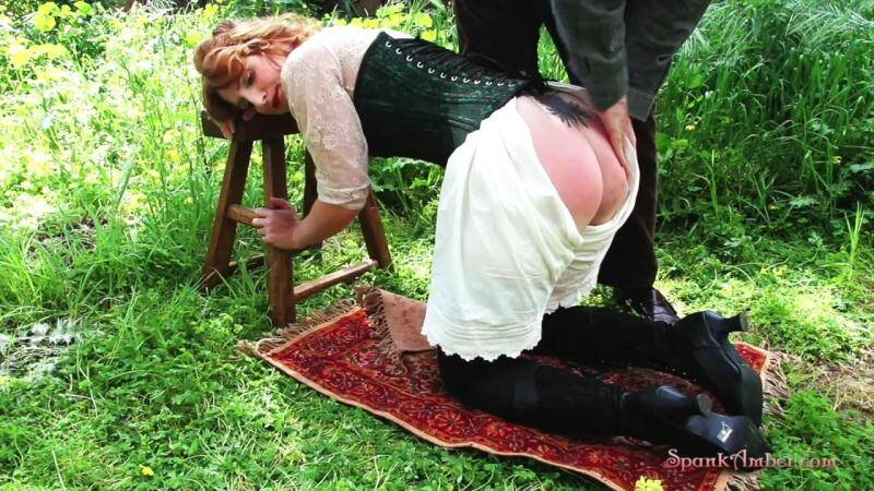 Spanked in the Garden - Outdoor! [HD] - SpankAmber
