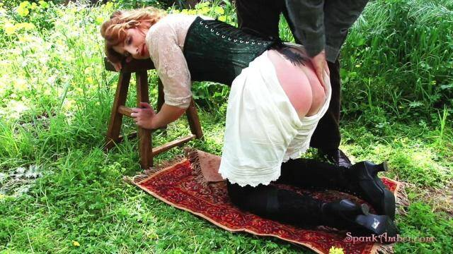 SpankAmber.com - Spanked in the Garden - Outdoor! [HD, 720p]