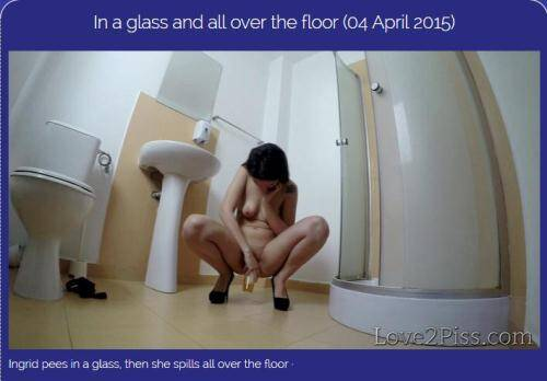 In a glass and all over the floor [FullHD, 1080p] [Love2piss.com] - Pissing