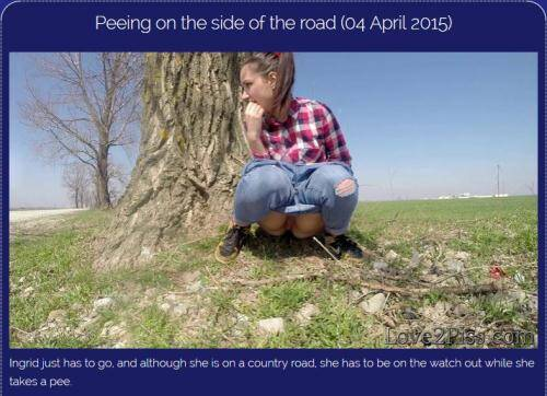 Peeing on the side of the road [FullHD, 1080p] [Love2piss.com] - Pissing