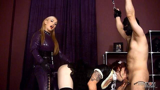 Female Domination - One Mistress and Two Slave! Strap Fucking! (Strapon) [HD, 720p]