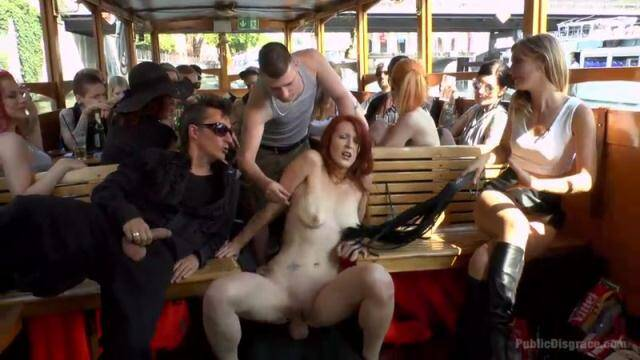 PublicDisgrace.com - Mona Wales and Isabella Lui - Hot Redhead Gets Fisted and Fucked in the Ass on a Crowded Party Boat / 38755 [SD, 540p]