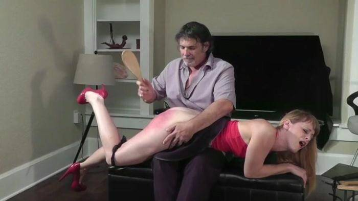Spanking - Nikki Rouge is given a real disclplinary spanking (BDSM) [HD, 720p]