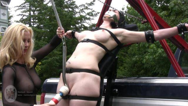 Nakedgord.com - Tied to the truck - Part 2! Masturbate with Toy! [HD, 720p]