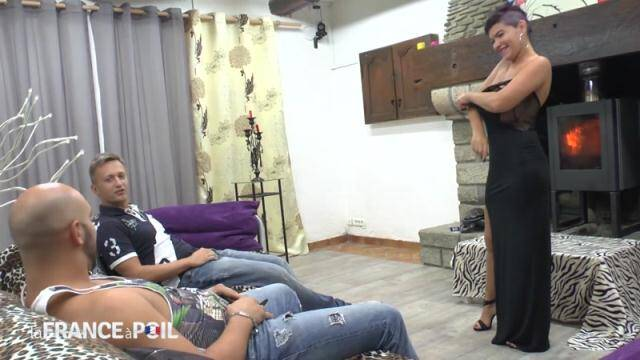 NudeInFRANCE.com - Huge boobed mature slut gets her ass hammered and double teamed by her neighbors [HD, 720p]