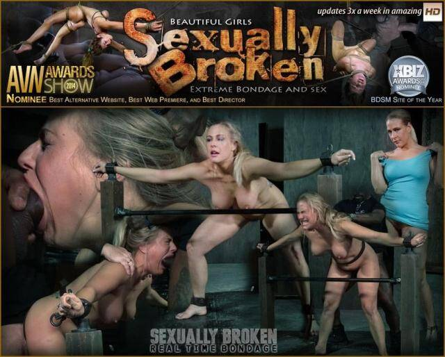 SexuallyBroken.com/RealTimeBondage.com - Angel Allwood BaRS show continues with a spit roasting on hard cock, brutal BBC deepthroat! [SD, 360p]