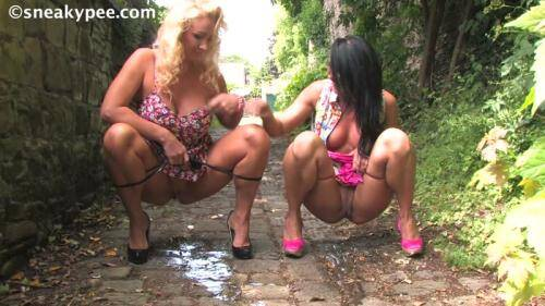 SneakyPee.com [Nikki and Jessica - Blonde and Brunette Milf Piss!] HD, 720p)
