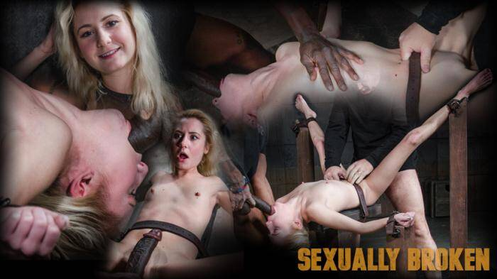 SexuallyBroken.com - Odette Delacroix - Pale 5 foot pixie Odette Delacroix belt bound down and roughly fucked by giant black cock!  [SD 540p]