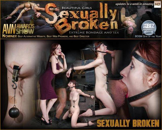 SexuallyBroken - Violet Monroe does drooling deepthroat on two cocks while firmly bound in the blowjob machine! [SD, 360p]