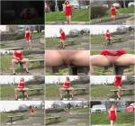 Teen Blonde - Red dress stream - Outdoor Pee! [FullHD] - G2P
