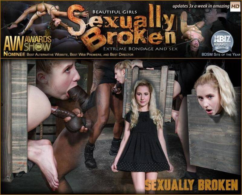 Tiny blonde Odette Delacroix bound inside a box and roughly fucked from both ends by cock! [SD] - SexuallyBroken