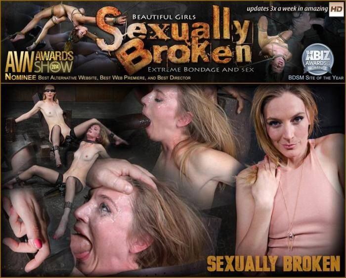 SexuallyBroken.com - All natural stunner Mona Wales takes on 3 cocks blindfolded and shackled onto a vibrator! (BDSM) [HD, 720p]