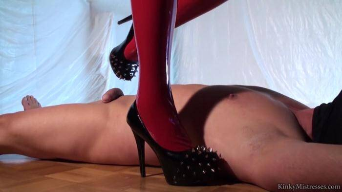 Female Domination - Mistress Ava Black - Shiny Latex and Spiked Heels (Femdom) [HD, 720p]