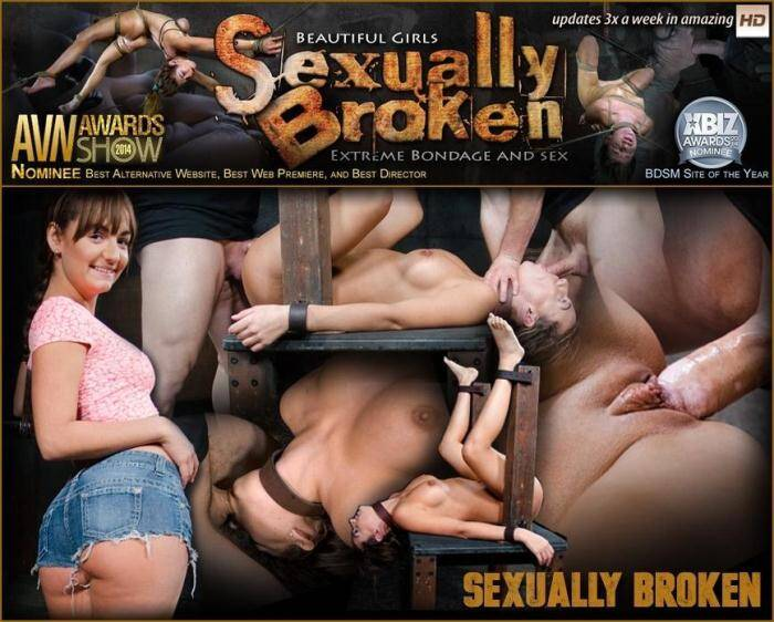 Big butt brunette Charlotte Cross bound down and roughly fucked with tag team dick down! [SexuallyBroken] 360p