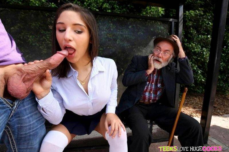 Teen Love Cock: Abella Danger - Bus bench creepin [SD] (392 MB)
