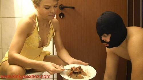 Miss Alysha feeding his slave in a toilet [FullHD, 1080p] [KinkySexBox.com/FemdomUncut.com] - Femdom