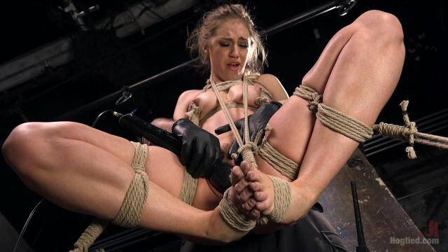 Hogtied, Kink - Young Blonde Babe is Devastated in Brutal Bondage and Made to Cum [HD, 720p]