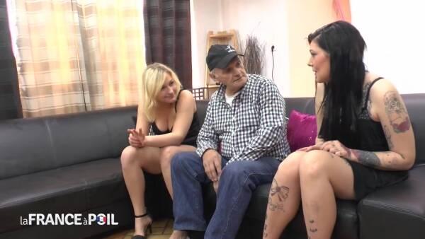 Julie, Melissa : LaFRANCEaPoil : Papy s'offre une bonne partouze avec deux belles salopes!