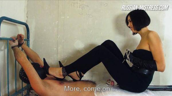 Helpless, hapless and tied to that uncomfortable metal bed! (Russian Domination) [HD, 720p]