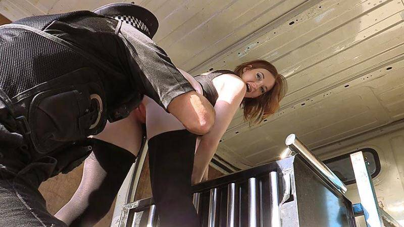 Hot ginger gets fucked in cops van [SD] - Sex in Car