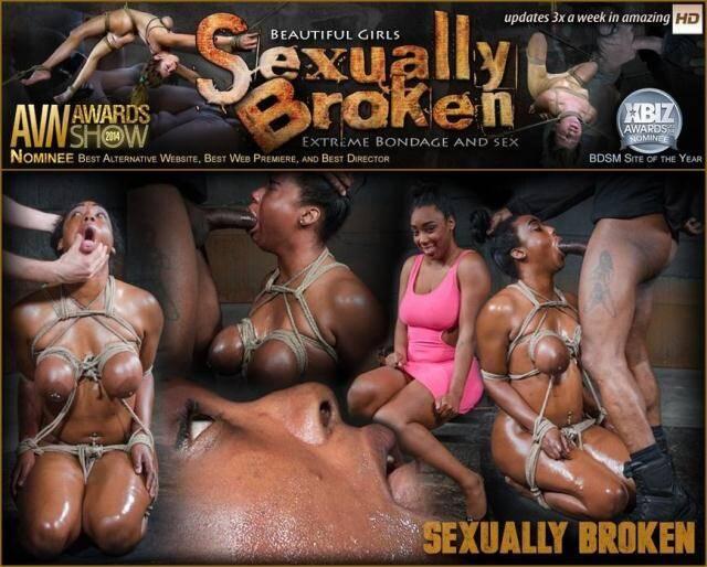 SexuallyBroken - Lisa Tiffian - Oiled down Lisa Tiffian worships two big cocks with drooling deepthroat, strict rope bondage! [HD, 720p]