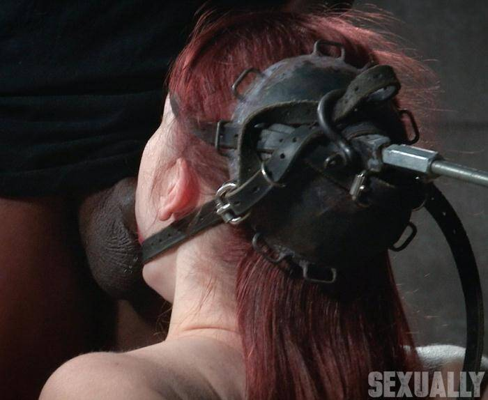 SexuallyBroken.com - Violet Monroe - Violet Monroe does drooling deepthroat on two cocks while firmly bound in the blowjob machine!  [HD 720p]