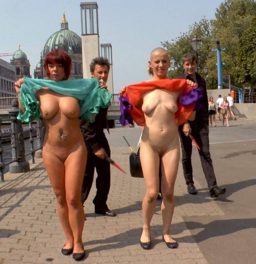 PublicDisgrace.com/Kink.com - Mona Wales, Mad Kate, Jolyne Joy [Two Berlin Freaks Get an Intense Public Shaming and Fucking] (SD 540p)