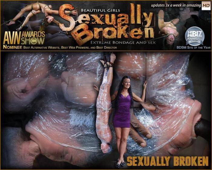 SexuallyBroken.com - Tough London River mummified in plastic wrap and facefucked in inverted suspension by BBC! (BDSM) [SD, 360p]