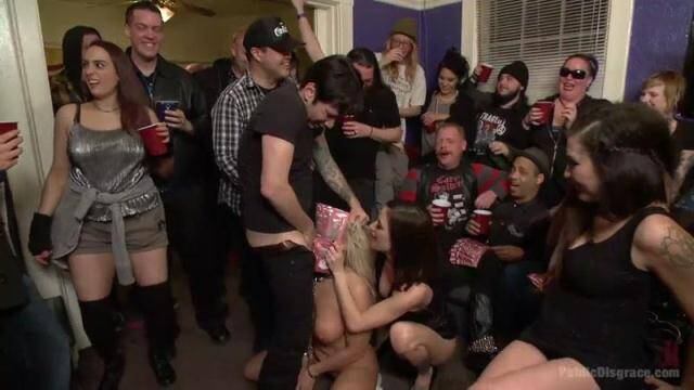 PublicDisgrace, Kink - Gia DiMarco, Angel Allwood - Annihilated at an orgiastic house party! [SD, 540p]