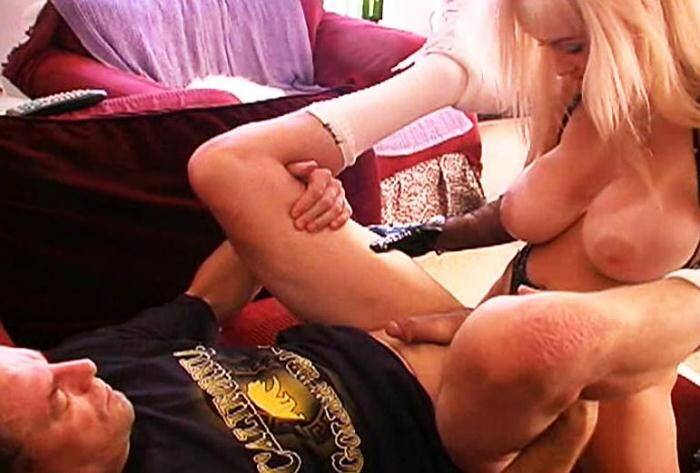 Blond Mistress with big tits fuck with strapon her slave [Female Domination] 480p