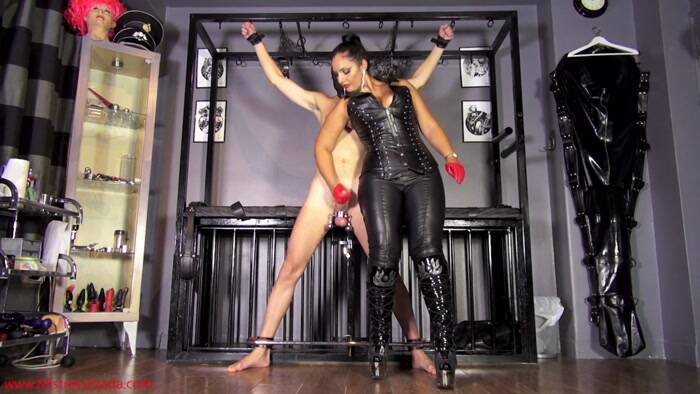 Mistress Sinn - Goddess Ezada Sinn - Red leather half gloves double ruin  [HD 1080p]