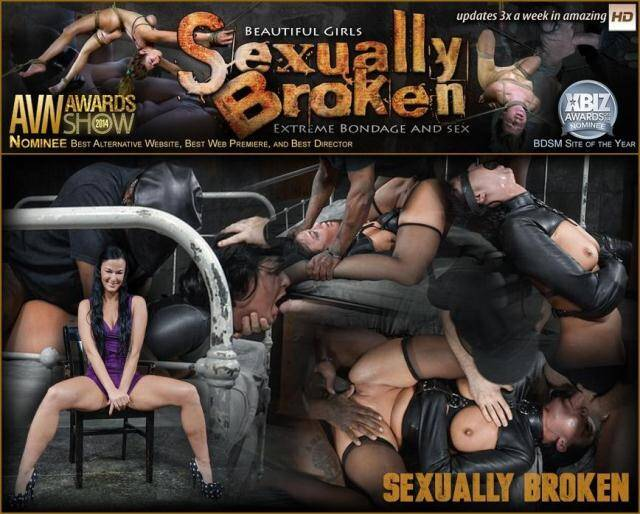 SexuallyBroken - 3 on 1 takedown as a straightjacketed London River is fucked without mercy by 3 hard cocks! [SD, 540p]