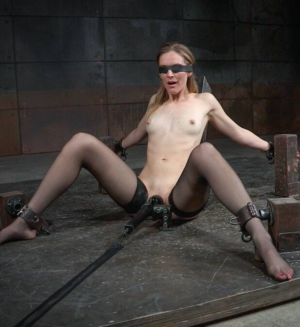 SexuallyBroken: Mona Wales - All natural stunner Mona Wales takes on 3 cocks blindfolded and shackled onto a vibrator!  [HD 720p 839 MB]  (BDSM)