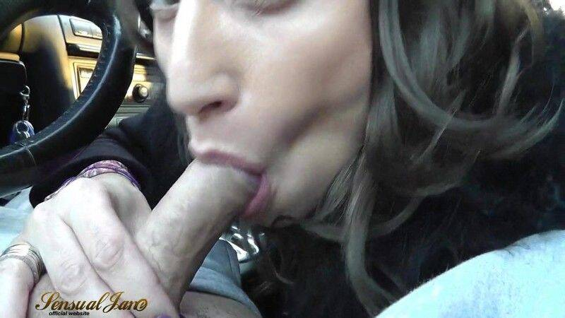 Busty babe sucks and swallows in the car - Sensual Jane (HD 720p)