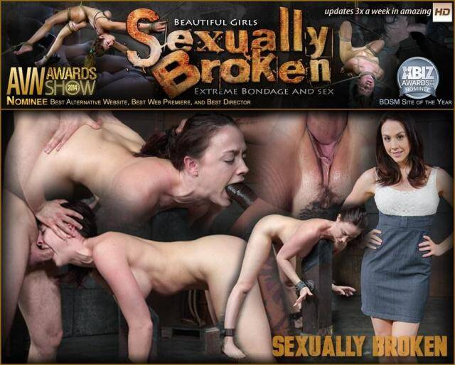 SexuallyBroken - Big breasted brunette Chanel Preston shackled down and roughly worked over by two cocks! [HD, 720p]